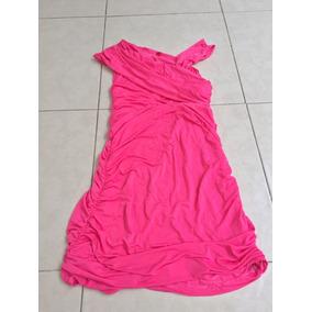 Vestido Corto Rosa Bebe Barbie Neon M Blusón Drapeado Strec