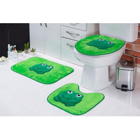 Jogo De Banheiro Padrão Sapo 03 Pcs
