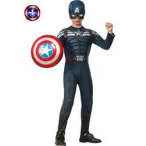Disfraz Capitan America Con Escudo Importados Originales