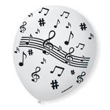 Bexiga 9 Tema Notas Musicais Branca-decoração-quantidade 50