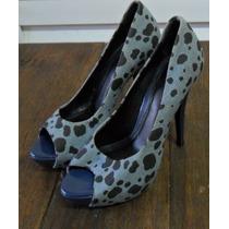 Sapato Vernon, Peep Toe, Salto Alto, Tamanho 34, Onça Azul