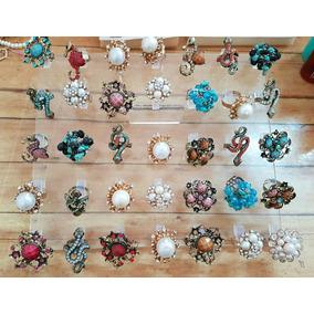 Anillos De Fantasía, Perlas, Cristales, Piedras Ajustables