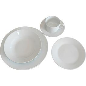 juego de vajilla de porcelana x piezas blanco liso