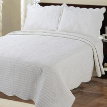 Cubrecama Quilt Blanco Tiza King Size Con Fundas De Almohada