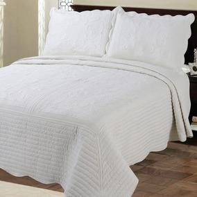 Cubrecama Quilt Blanco King Size Con Fundas De Almohada
