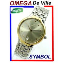 Omega De Ville Symbol Extra-fino Aço,aro De Ouro Maciço 18k