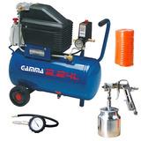 Compressor Ar 24l 2hp Kit Pintura 3 Pçs 110v Gamma G2801kbr1