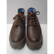 Zapatos Mujer Cuero Con Plataforma, Color Café N°39 Nuevos!!