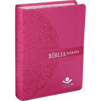 Bíblia Feminina Letra Grande Beira Florida Rosa