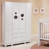 Guarda-roupa Infantil 4 Portas Bolinha Móveis Peroba Branco
