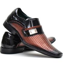 Sapato Social Couro Legitimo Em Verniz Brilhoso Masculino