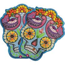 Frida Calavera Floreada Par Parches Bordados Chaquira