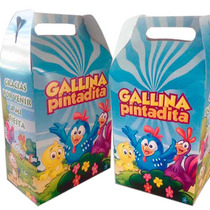 50 Cajitas Dulceros Personalizados Gallina Pintadita + Envio