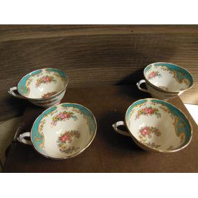 Lote De 4 Tazas Fabricadas En Porcelana Hechas En Inglaterra