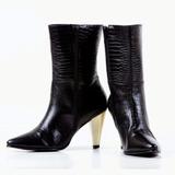 Botas Bottier Mujer Cuero, Modelo Media Caña , Croco Negro