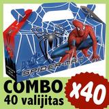 Spiderman Hombre Araña Cajita Valijita Cumpleaños Combo X 40