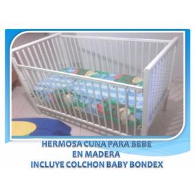 Cuna Para Bebe En Madera Incluye Colchon Y Lenceria