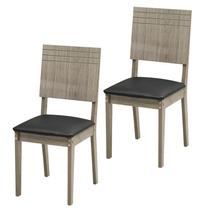 Conjunto 2 Cadeiras Modocasa Lugano Carvalho Ferroso/preto