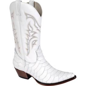 Bota Country Masc Texana Escamada Silverado Couro Branco