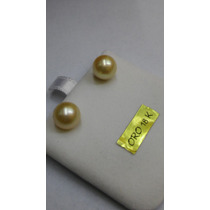 Aros De Perla Cultivada 0.9 Mm Diametro Y Oro 18 K Antiguos