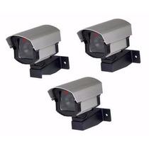 Kit 3 Câmeras Falsas C/ Led Para Segurança Comercial +brinde