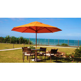 Guarda Sol Gigante Praia3,5m Redondo Madeira Central Premium