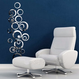 Decoracion De Pared Figuras Circulares Acrilico Tipo Espejo