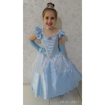 Fantasia Princesa Cinderela Com Coroa E Luvas