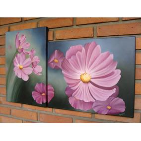 cuadros originales dipticos al oleo flores - Cuadros Originales