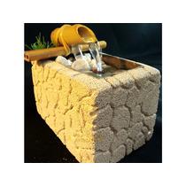 Fonte Água Concreto Celular Bambu Decoração Pedra Mini