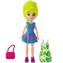 Polly Pocket Boneca + 2 Vestidos + Sandalia + Bolsa Mattel