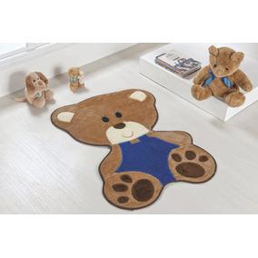 Tapete De Quarto Infantil Bebê Urso 78cm X 54cm De Pelúcia