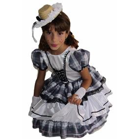 Vestido De Festa Junina Caipira Infantil Branco Preto + Luva