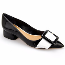 Sapato Feminino Scarpin Couro Lux Detalhes Branco E Metal