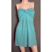 Bluson Mini Vestido Marca Bebe Playa Azul Con Blanco