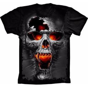 Camiseta Skull Caveira 3d Vampiro Realista Top Estampada