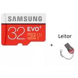 Cartão De Memória Micro Sd 32gb Evo 95mb/s + Leitor Gratis