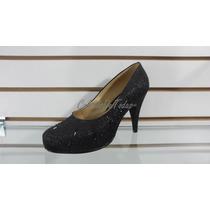 Zapato D Vestir Taco 9 C/ Plataforma Color Negro Y Piedreria