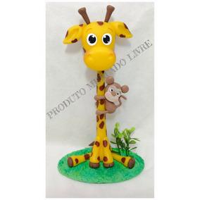 Topo De Bolo Festa Safári Girafa E Macaco Biscuit