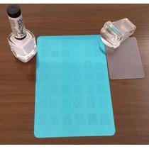 Kit Placa De Unha Inox + Carimbo Transparente + 1 Esmalte La