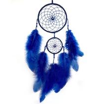 Filtro Dos Sonhos Apanhador Pena Azul Grande Olho Grego 40cm