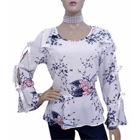 Blusa Estampa Floral Com Laços De Cetim