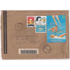 Brasil - Envelope Circulado Porte Bloco Natação - 1993!!!