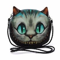 Bolsa 3d Tiracolo Cara De Gato Cheshire Cinza Azulado Alice