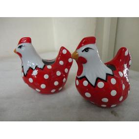 #8540# Par De Paliteiros Em Porcelana Galinha Vermelha!!!