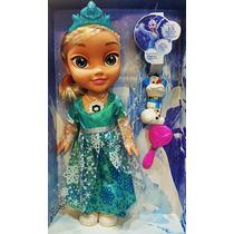 Boneca Princesa Elsa Musical Cantora Brilho Disney Frozen