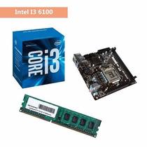 Kit Processador Intel I3 6100 Placa Mae H110 Memoria Ddr4 4g