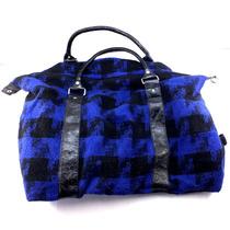 Bolsa Atmosphere Preta E Azul Lã E Couro Sintético B3482