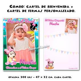 Cumple Minnie Bebé Cartel De Bienvenidas Y Afiche De Firmas