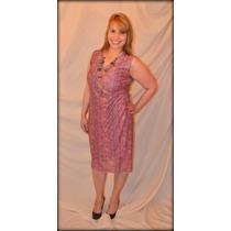 Vestido Cruzado En Lurex Rosa